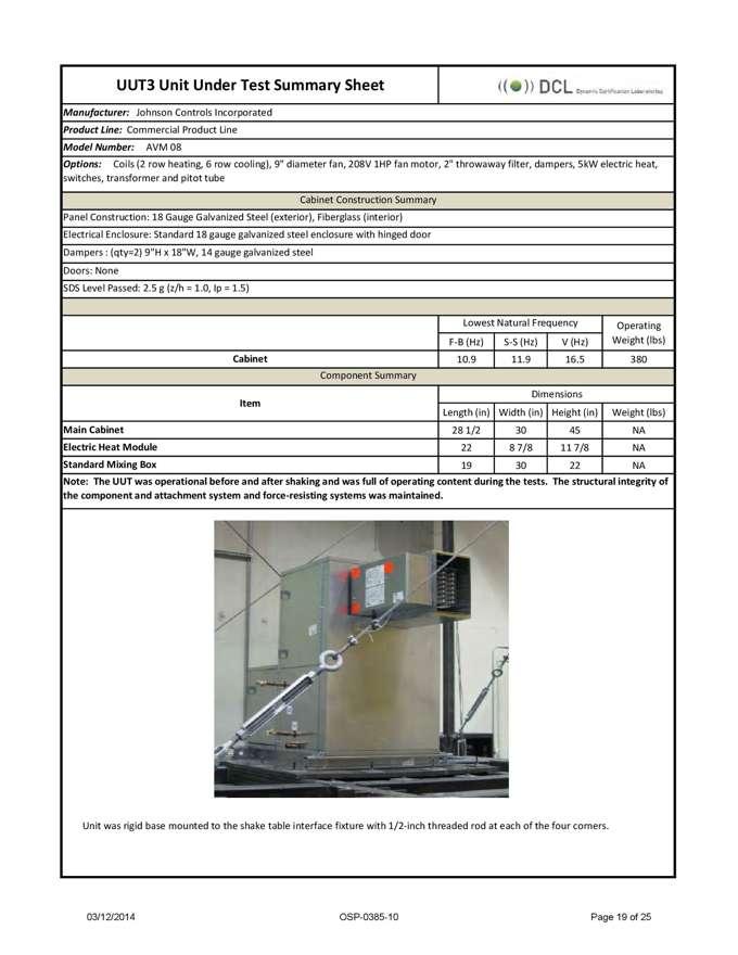 Shake Table | Seismic Testing | OSHPD Certification - Dynamic